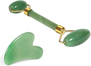 Anti-Aging Jade Roller Massage and Gua Sha Facial Tools Set-Natural Jade Gua Sha Massage Tool for Face and Full Body