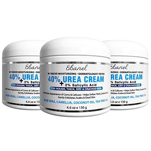 Urea Cream 40% Plus Salicylic Acid, 3-Pack, Callus Remover Hand Cream Foot Cream For Dry Cracked Feet, Hands, Heels, Elbows, Nails, Knees, Intensive Moisturizes & Softens Skin, Exfoliates Dead Skin