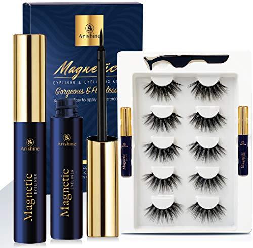 Arishine 3D Faux Mink Magnetic Eyelashes Handmade Luxurious Volume Fluffy Magnetic Eyelashes with Eyeliner, Soft Wispy 3D Full Magnetic Eyelashes for Women Bold Makeup 5 Pairs