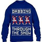 Shirtgeil Dabbing Through The Snow - Regalo per Natale Maglione per Bambini e Ragazzi 12-14 Anni (152-164cm) Blu