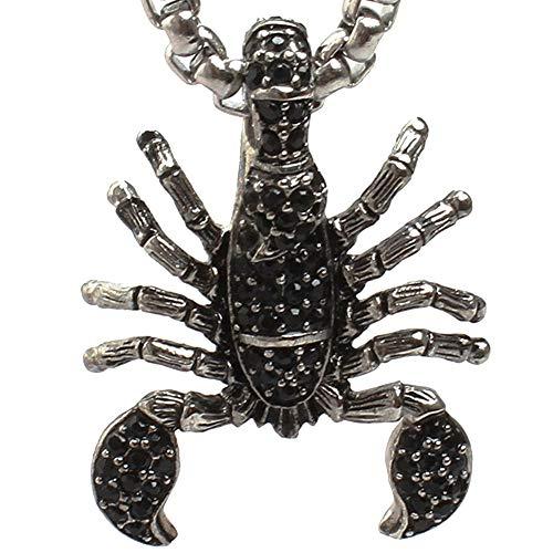Dixinla Punk Jewelry - Collar Colgante Escorpiones Negros, Acero Inoxidable, Circonita Tribal, Motociclista, para Hombre, Padre Y Escorpio, Regalos Cumpleaños Navideños, Encanto para Hombres,70CM
