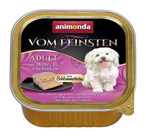animonda Vom Feinsten Adult Hundefutter, Nassfutter für ausgewachsene Hunde, Schlemmerkern mit Huhn, Ei + Schinken, 22 x 150 g