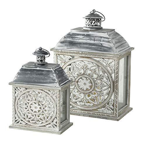 CasaJame Juego de 2 farolillos de metal y madera, diseño de mandala, 33 cm de altura y 45 cm de altura, color blanco y gris