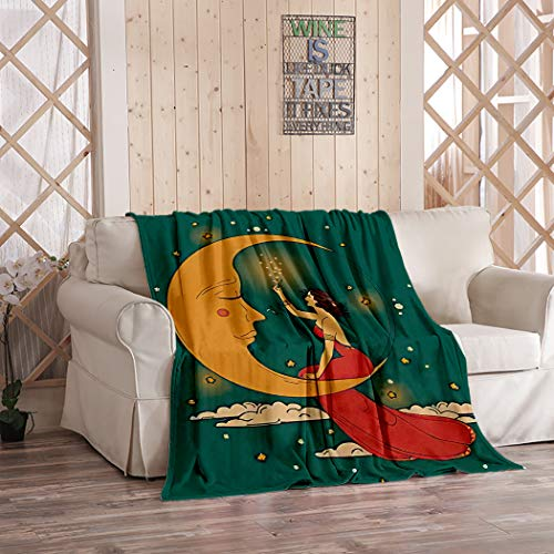 Vintage Starry Sky Blanket,Plush and Warm Home Soft Cozy Light Weight Fuzzy Throw Blankets for Couch Bed Sofa,Beautiful in Art Nouveau Style Party Woman and Moon in Starry Sky C,50'x60'