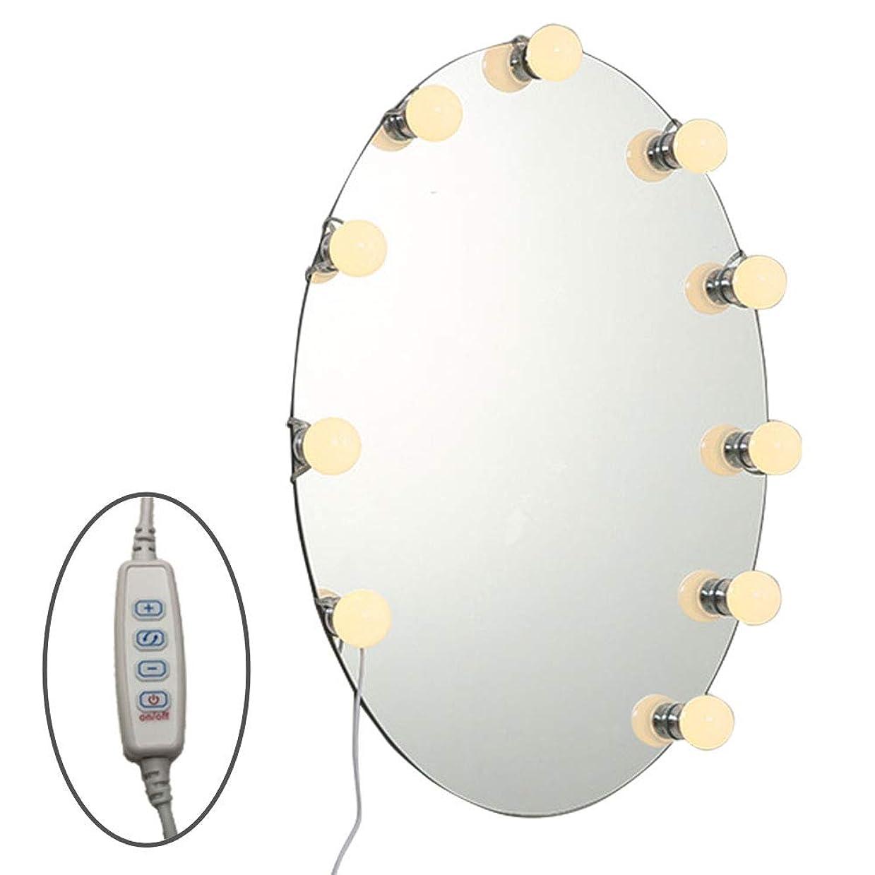 アコード表示忘れるpassion LEDミラーライト ハリウッド女優 ドレッサー ライト メイクアップ スタイリング USB給電 LED 10個 3調色 10段階調光 光色切替 両面テープ貼り付け ◇L804