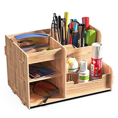 Lesfit Tisch Organizer Stifteköcher, Holz Stiftebox Aufbewahrungsbox, Schreibtisch Stiftehalter 21,6x14x13cm