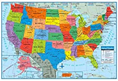 """Includes (1) - 40"""" x 24 United States Map Map features Capitol and major cities. Shows National monuments and parks Has all 50 United States and Puerto Rico Shows time zones and continental divide"""