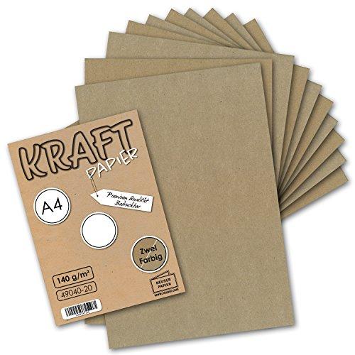 50x Vintage Kraftpapier DIN A4 140 g/m² - 2-farbig natur-braunes/graues Recycling-Papier, 100% ökologisch Brief-Bogen Kunst & Künstler-Papier