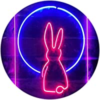Rabbit Moon Window Display Dual Color LED看板 ネオンプレート サイン 標識 青色 + 赤色 300 x 400mm st6s34-i3266-br