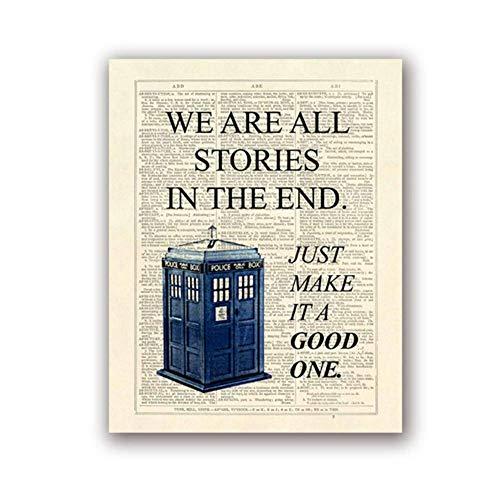 CAPTIVATE HEART Pintura sobre Lienzo Dr Who Classic TV Show Poster Tardis Somos Todas Las Historias al Final Diccionario Página Arte Imagen Decoración para el hogar 60x90cm sin Marco
