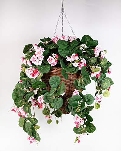 Pflanzampel Gr.L mit Geranie 45cm / 90cm rosa Kunstpflanzen Hängeampel Blumenampel künstliche Blumen Geranien