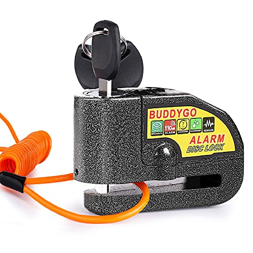 Candado Disco Moto, BUDDYGO Candado Cerradura 7mm con Alarma 110DB Antirrobo, 1.5m Cable Recordatorio, Candado Bolsa, 3 Llaves y Batería Repuesto, Candado de Disco para Motos Motocicletas, Bicicletas