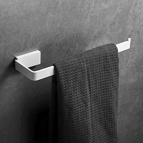 Beelee Soporte de pared para toallero, toallero blanco, acero inoxidable SUS304, diseño de brazo abierto, barra única, BA19905W