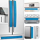 Refrigerator Door Handle Covers, Set of 6, One Size Fits All Widths, Keep Your Kitchen Appliance Clean from Smudges, Drips, Food Stains, Oil (Blue)