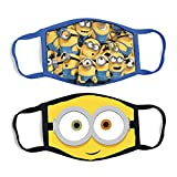 Minions Reusable Fabric Face Covers for Kids, Fun Fashionable Designs (2 Pack) Age 3-7, Yellow, Small (Pack of 2)