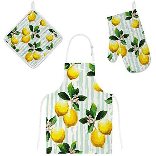 U-Life Küchenschürze mit Tasche, Ofenhandschuh, Topflappen, Matten-Set, Grün, Gelb, Zitronengelb, Blumenmuster