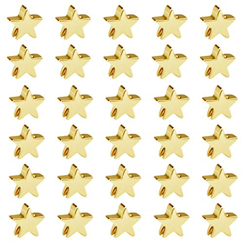 50pcs Star Spacer Beads Alloy Charms Pendents Beads for Arts Crafts DIY Bracelet Necklace Earring Jewelry Making Decor (Gold)