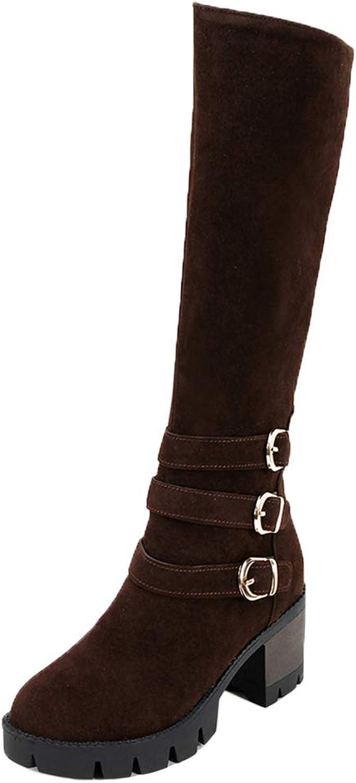 AicciAizzi Women Round Toe Knee Boots Zip