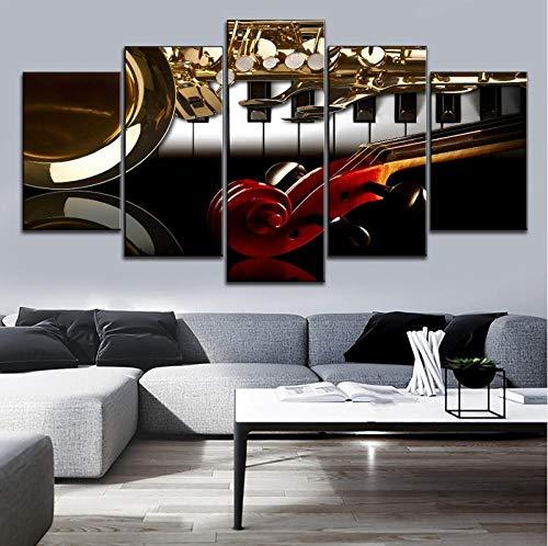 ARXYD canvasdruk muziekinstrumenten afbeelding 5 panelen modulaire stijl muziek klaslokaal wanddecoratie piano en viool handvat saxofoon tekenen 200x100cm - kunstwerk foto's voor thuis kantoor modern