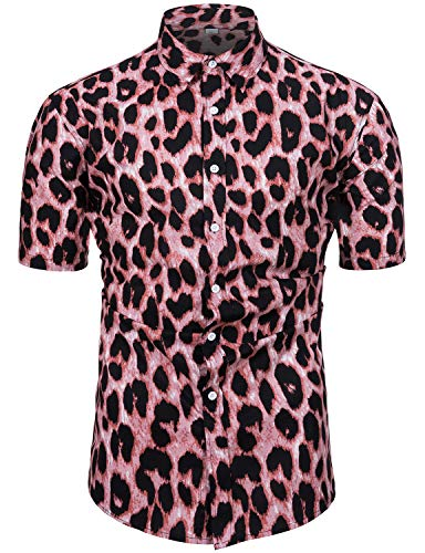 fohemr Camisa de Manga Corta con Botones para Hombre, diseño de Flores Estampado Camisas Hawaianas Hombre Algodon Medium