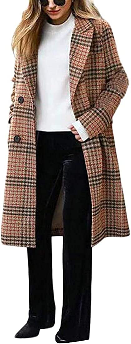 Women Plus Size Plaid Loose Wool Blend Overcoat Double Breasted Winter Long Pea Coat