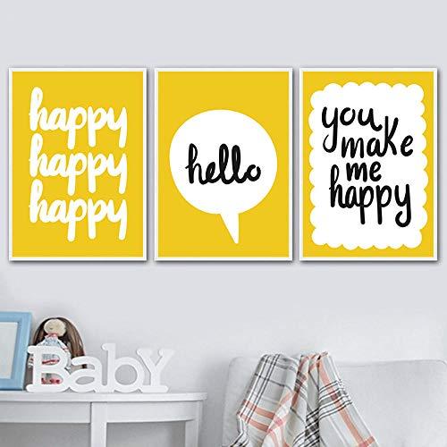 hdbklhjxk Modern hart kunst canvas schilderij druk poster afbeelding muur kinderkamer wooncultuur baby kinderkamer muurkunst 40x60cmx3 geen lijst
