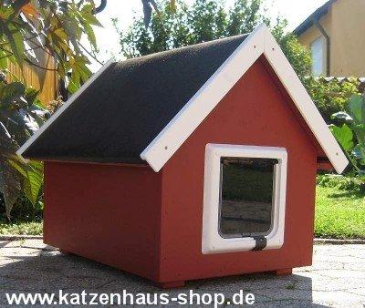 Katzenhaus/Katzenhütte wetterfest für draußen mit Katzenklappe und VOLLSOLIERUNG, Spitzdach, Farbe schwedenrot