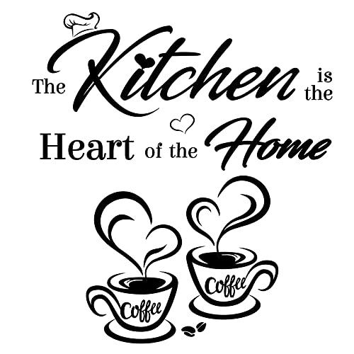 2pz Adesivi Murali da Parete Cucina Frasi Scritta Kitchen Tazze da Caffè con Cuore Adesione al Muro Decorazione per Casa Cucina DIY Wall Stickers