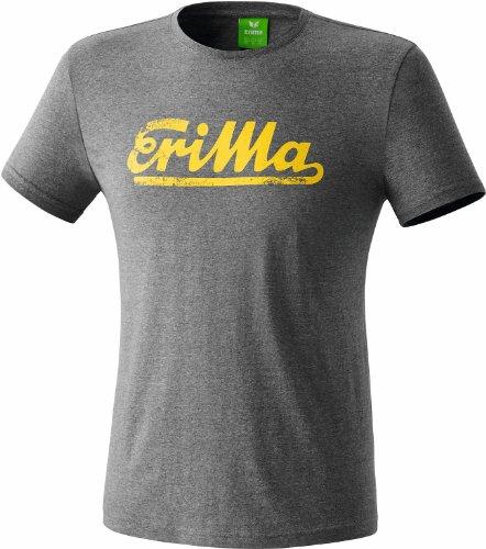 erima Erwachsene Retro T-Shirt, Grau Melange/Gelb, S, 208435