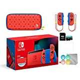 Nintendo 2021 Switch Mario Red & Blue Limited Edition with Mario Iconography Carrying Case and Screen Protector Bundle with Mytrix Accessories