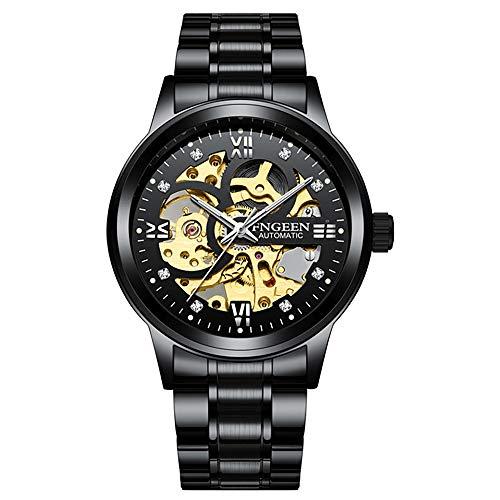 Klassische Luxus-Automatikuhr mit Skelett-Zifferblatt und Armband aus Edelstahl für Herren Armband Mediano Armeeschwarz