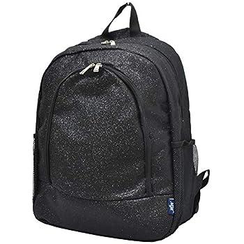 Black Glitter NGIL Canvas School Backpack