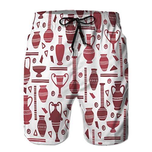 Xunulyn Shorts de Playa para Hombre con Bolsillos jarrones de Arcilla Antiguos de Secado rápido sin Costuras Egipcio y