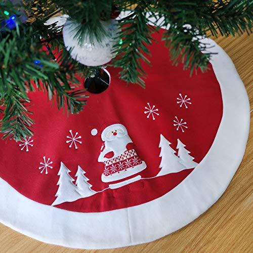 Athoinsu Style2 Weihnachtsbaumdecke mit Weihnachtsmann, 90 cm, Rot