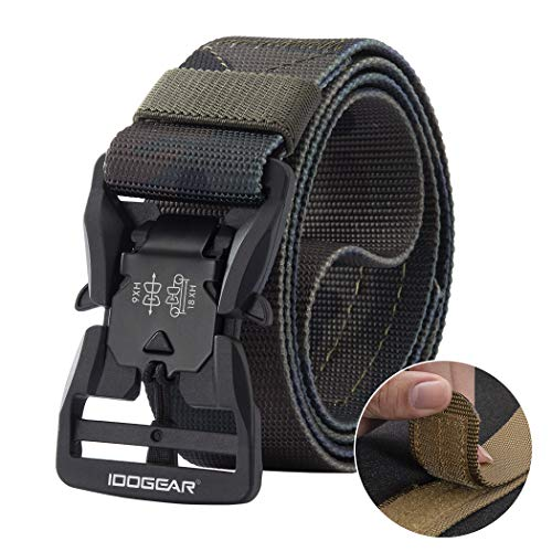 """IDOGEAR Tactical Belt with Magnetic Quick-Release Buckle Military Style 1.5"""" Nylon Belt Loop and..."""