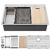 33 Kitchen Sink Drop In - Kichae 33' x 22' Ledge Workstation Topmount Drop-In Single Bowl 18 Gauge Stainless Steel Kitchen Sink
