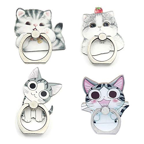 4-Pcs Phone Ring Holder Stand, Cute Animal Dogs Cats Ring Stand Holder 360 Rotation Finger Ring Grip Kickstand for Cellphones Smartphones and Tablets (Cats Ring)