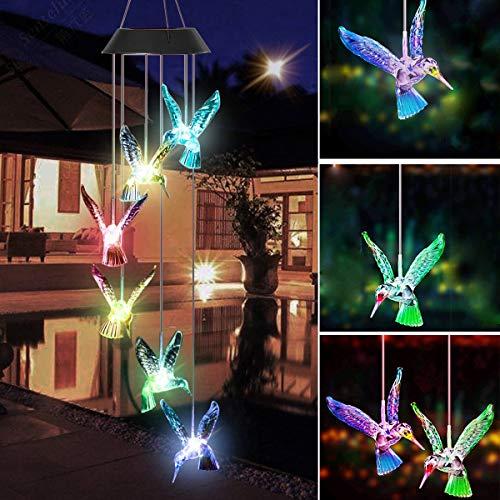 Kolibris Windspiel Solarlichter, Außenleuchten LED-Leuchten solarbetrieben Farbwechsel Kolibri Windspiel, Solarlicht Mobil für Hause/Party, Geschenke für Mama, Frau, Oma (Bird)