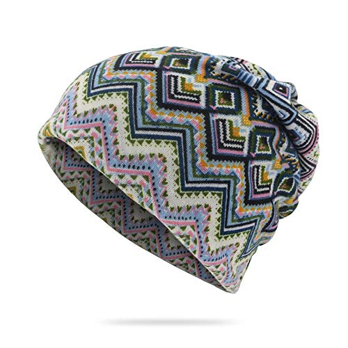 Hat Sleeve hat Geometrical Diamond Pattern Dual-use hat Perverted Cap bib (Color : Sky-Blue, Size : One Size)