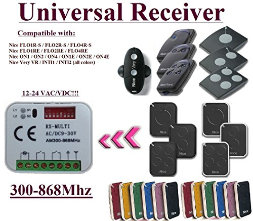 Universal Empfänger kompatibel mit Nice 433,92Mhz Flor-S, Flore, On, One, Inti, VR Fernbedienung Fernsteuerung. Rolling-code Kanal 300mhz-868mhz. Rolling/Fixed code 12–24VAC/DC Receiver.