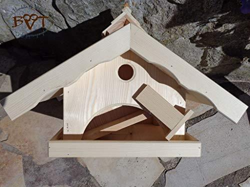 Vogelhaus, groß, BEL-X-VONI5-LOTUS-LEFA-dbraun002 Großes wetterfestes PREMIUM Vogelhaus mit wasserabweisender LOTUS-BESCHICHTUNG VOGELFUTTERHAUS + Nistkasten 100% KOMBI MIT NISTHILFE für Vögel WETTERFEST, QUALITÄTS-SCHREINERARBEIT-aus 100% Vollholz, Holz Futterhaus für Vögel, MIT FUTTERSCHACHT Futtervorrat, Vogelfutter-Station Farbe braun dunkelbraun behandelt / lasiert schokobraun rustikal klassisch, MIT TIEFEM WETTERSCHUTZ-DACH für trockenes Futter - 4