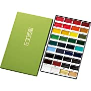Kuretake GANSAI TAMBI watercolor 36 Colors set, Handcrafted, Professional-quality pigment inks for artists and crafters, AP-Certified, Blendable, Show up on dark papers, Made in Japan