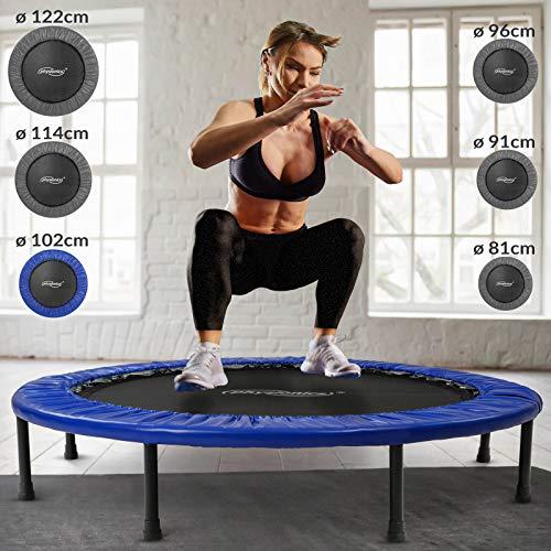 Physionics Mini Trampolino - Diametro a Scelta (Ø 81, 91, 96, 102, 114, 122 cm), Piedini Antiscivolo, da Interno e Esterno - Tappeto Elastico, da Fitness, per Saltare (Ø 102 cm)