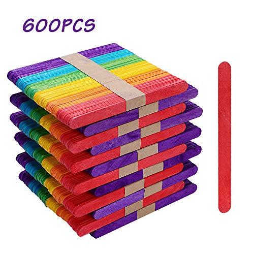 Materiales de alta calidad: las barras de helado están hechas de madera natural de alta calidad, incluidas 600 barras con una longitud de 114 mm, un grosor de 2 mm y un ancho de 10 mm. Los palos de madera tienen una superficie lisa sin residuos ni re...