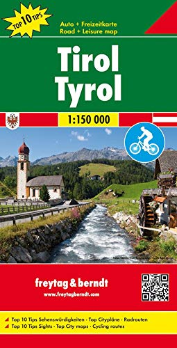 Tirol, mapa de carreteras. Escala 1:150.000. Freytag & Berndt.: Top 10 Tips.Sehenswürdigkeiten, Citypläne, Radrouten, Weitwanderwege: OER 77