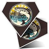 2 pegatinas de diamante de 7,5 cm – pegatinas de pesca de peces trucha carpa divertida para portátiles, tabletas, equipaje, chatarra, neveras, regalo fresco #9541