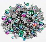 BrillaBenny 1000 Cristalli TERMOADESIVI Green Volcano Fluo HOTFIX Mix 2mm/3mm/4mm/5mm/6mm Rhinestone Crystal Diamond Luxury