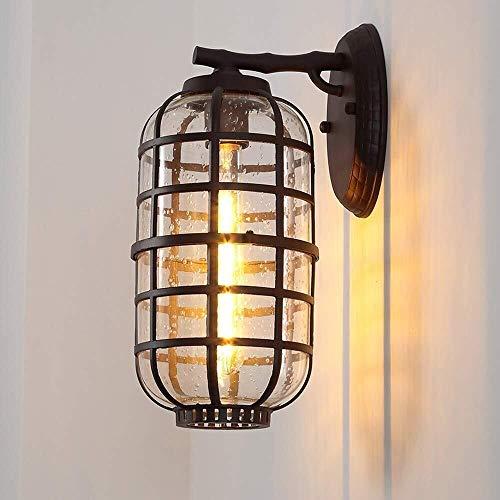 Retro mini lámpara de pared Impermeable al aire libre Balcón Villa Exterior hogar de la pared de la puerta ligera de la pared del jardín del LED Lámpara de pared exterior de cristal de habitaciones Te