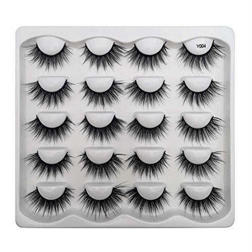Beauty Glazed Cils de vison 3D faits à la main cils moelleux naturels réutilisables extensions bouclés maquillage cils en vrac volume luxueux doux charmants faux cils (10 paires) #04