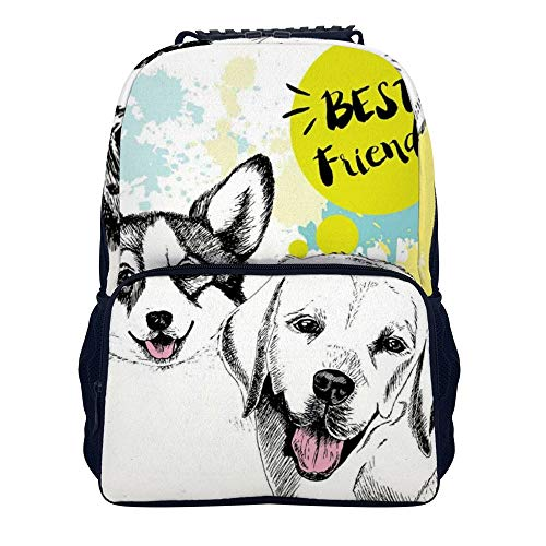 JasonGGG Best Friends Typography with Hand Drawn Sketch Welsh Corgi Grunge IllustrationTeens School Bookbags Travel Laptop Daypack Bag Lightweight Water Resistant Schoolbag for Boys Girls